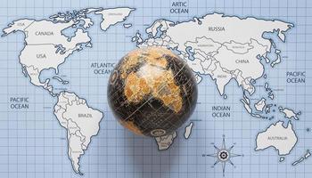 vue de dessus globe et carte du monde photo