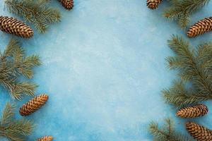 Couronne de cadre aiguilles de pin cônes photo