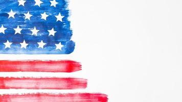 drapeau usa aquarelle dessiné à la main sur fond blanc photo