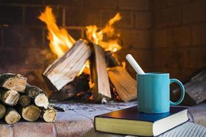 boisson et livre près de la cheminée photo