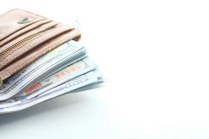 argent dans un portefeuille avec un espace de copie photo