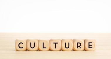 Mot de la culture sur des blocs de bois sur table en bois photo