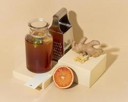 délicieux arrangement de boisson kombucha photo