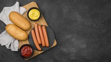 cadre de nourriture à plat avec espace de copie photo
