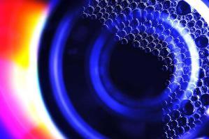 abstrait coloré avec des cercles bleus et des bulles. photo