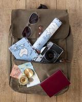 carte, appareil photo et passeport dans un sac à dos