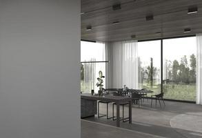 vue d'une cuisine et salle à manger depuis un couloir photo