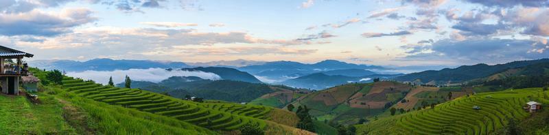 montagnes et rizières en terrasses dans le nord de la Thaïlande photo