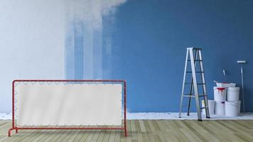 Image de rendu 3D de la peinture de mur bleu dans une pièce vide photo