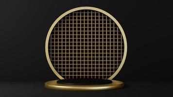 piédestal isolé sur fond noir avec cadre en or photo