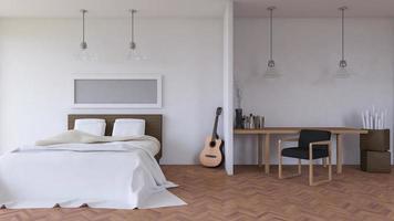 intérieur de chambre à coucher, rendu 3d photo