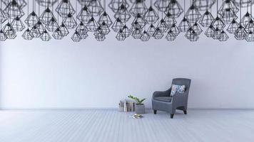 Rendu 3D, canapé de couleur grise sur plancher en bois photo