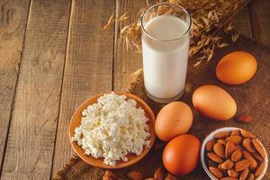 nourriture de régime équilibré de protéine rustique photo