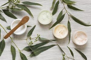 traitement de beauté spa avec des crèmes et des feuilles photo