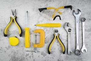 vue de dessus différents types d'outils photo