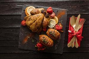 Assortiment de repas de Noël festif vue de dessus photo