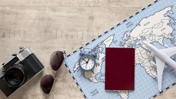 arrangement d'articles de voyage à plat photo