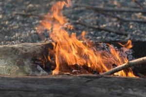 flamme vive de feu sur les bûches en feu sur la rive rocheuse photo