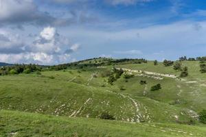paysage avec des collines couvertes d'herbe verte photo