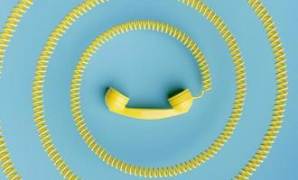 combiné téléphonique avec cordon enroulé vers le centre de l'image photo