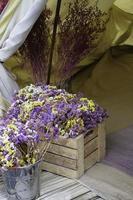 fleurs à l'ouverture de la tente photo