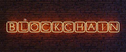 lampe néon avec le signe blockchain à l'intérieur des cubes lumineux. Rendu 3D photo
