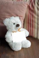 Ours en peluche blanc tenant une carte vierge photo