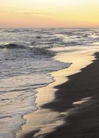 plage de sable à côté de l'océan paisible photo