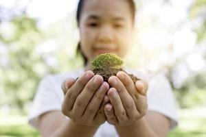 femme tenant un jeune arbre photo