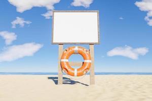 Maquette des règles de la plage signe avec bouée de sauvetage suspendue, rendu 3d photo