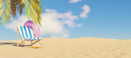 Hamac avec flotteur et tongs sur le sable de la plage avec ombre de palmier, rendu 3d photo