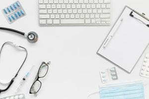 bureau de médecin vue de dessus. beau concept de photo de haute qualité et résolution