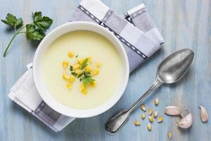 vue de dessus arrangement de bol de soupe à la crème. beau concept de photo de haute qualité et résolution