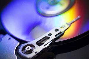 Image en gros plan d'un disque rotatif hdd photo