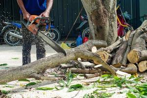Mains de travailleur coupant le journal par une scie à chaîne avec de la sciure de bois éclaboussant autour. Mouvement flou de scie à chaîne photo