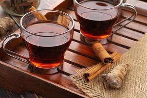 gros plan, de, thé, à, cannelle, et, curcuma photo