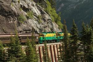 Chemin de fer panoramique sur la route du col blanc et du Yukon à Skagway en Alaska photo