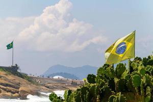Drapeau du Brésil à l'extérieur au-dessus d'un cactus sur une plage à Rio de Janeiro photo