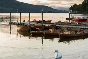 Scène de crépuscule romantique d'un beau cygne muet et bateaux amarrés dans une jetée dans le lac Windermere photo