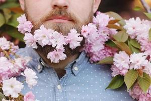 homme barbu avec des fleurs de cerisier, gros plan portrait sur fond de printemps photo