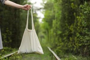 sac fourre-tout blanc avec poignée, conception maquette photo