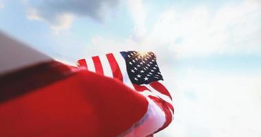 agitant le drapeau américain photo