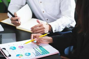 deux jeunes dirigeants d'entreprise discutent pour changer leur concept d'entreprise pour augmenter leurs profits et renforcer leur entreprise. photo
