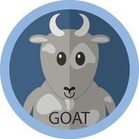 avatar icône plate dessin animé mignon chèvre grise photo