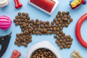 Accessoires pour animaux encore concept de vie avec de la nourriture sèche en forme d'os photo
