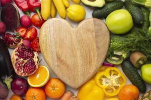 vue de dessus arrangement de fruits et légumes photo