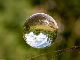 Boule de verre flotte entre les brins d'herbe avec des arbres en miroir et un ciel nuageux photo
