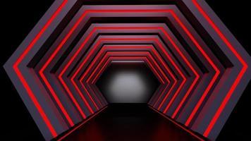 Rendu 3D du tunnel rouge abstrait photo