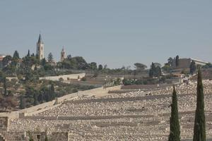 Vue du mont des oliviers sur la vieille ville de Jérusalem en Israël photo