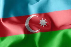 Drapeau d'illustration de rendu 3D de l'Azerbaïdjan sur le fond du drapeau du vent photo